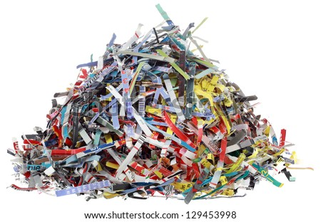 Small Hill of Paper Shreds Isolated on White Background - stock photo