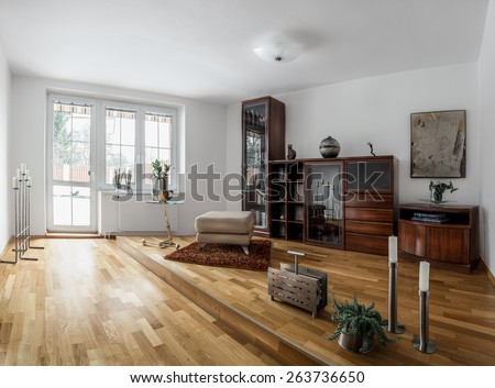 Small home modern spacious library in cool style with a variety of  decorations  wooden furniture. Furniture And Home Accessories Stock Photos  Royalty Free Images