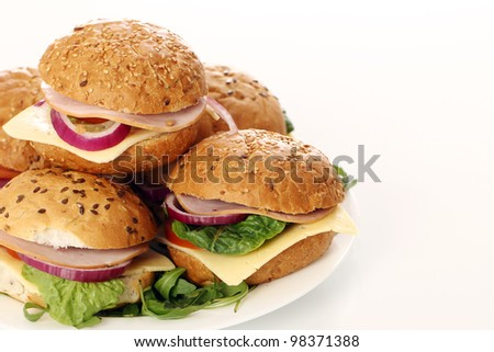 Small homemade sandwiches - stock photo