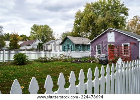 Small homes and backyards in Frenchtown , a small town along the Delaware River in Hunterton County New Jersey. - stock photo