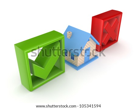 Small house between tick and cross mark.Isolated on white background.3d rendered. - stock photo