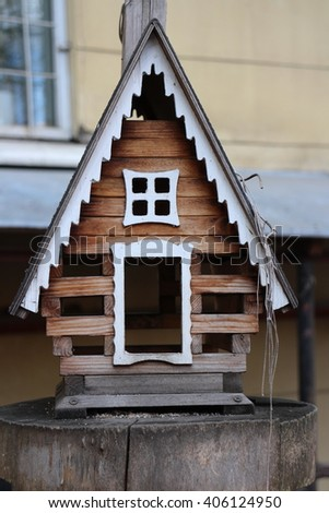 Small house birdhouse close to - stock photo