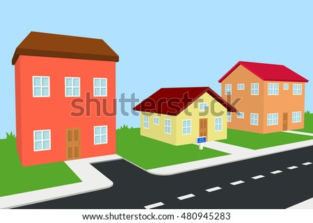 small house for sale surrounded by bigger houses, 3D illustration