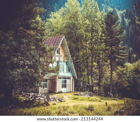 Small house in the forest in Caucasus mountains, Georgia. Toned picture - stock photo