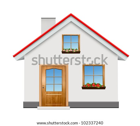 small house isolaed on white background