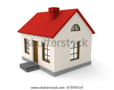 Small house on a white background. 3d rendered image