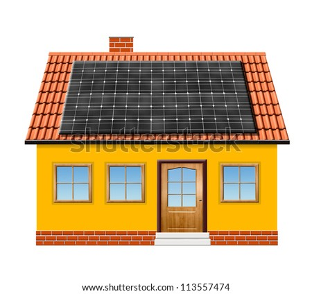 small house with solar panel isolaed on white background