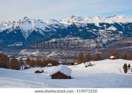 Small houses on a hillside, Swiss Alps