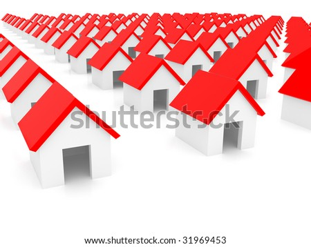 Small houses on a white background - stock photo