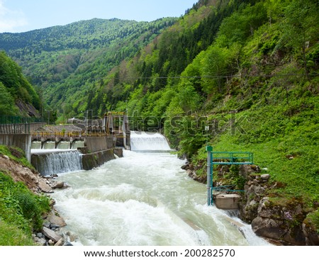 Small hydro power plant in Turkey - stock photo