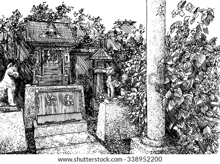 Small Inari temple in Japan. Black and white dashed style sketch, line art, drawing with pen and ink. Retro vintage picture.