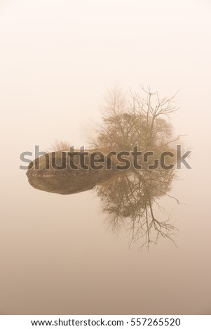 Small island in the fog on the water. Mystical lake
