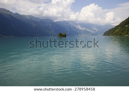 Small island in the lake, Interlaken, Switzerland - stock photo