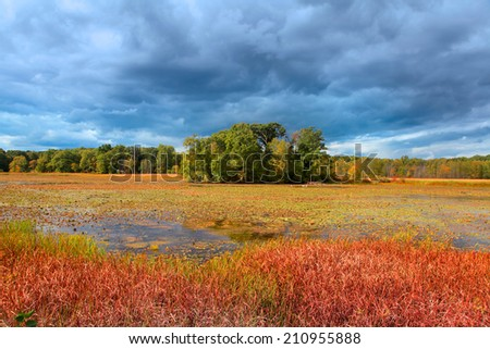 Small island in the middle of Kent lake in Michigan on a stormy day  - stock photo