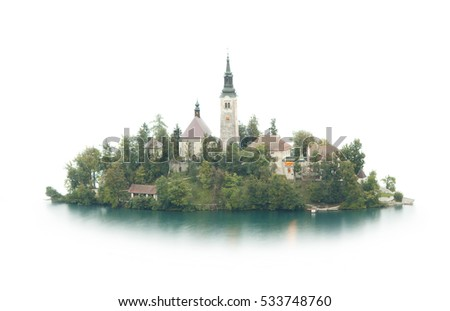 small island isolated on white, Bled, Slovenia