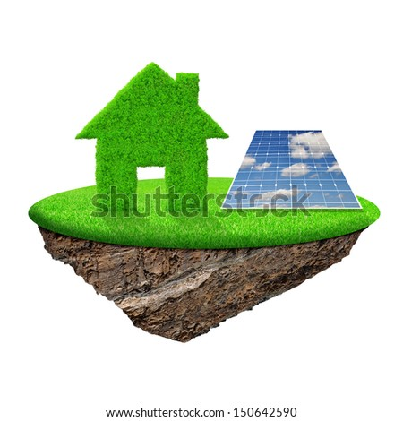 small island with green house and solar panel - stock photo
