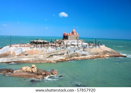 Small island with Swami Vivekananda memorial, Mandapam, Kanyakumari, Tamil Nadu, India - stock photo
