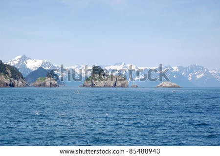 Small Islands in Resurrection Bay, Alaska - stock photo