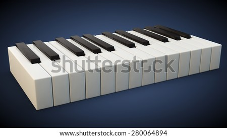 small keyboard of a piano on a blue background - stock photo