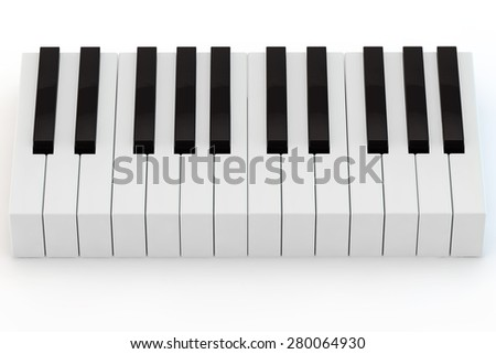 small keyboard of a piano on a white background - stock photo