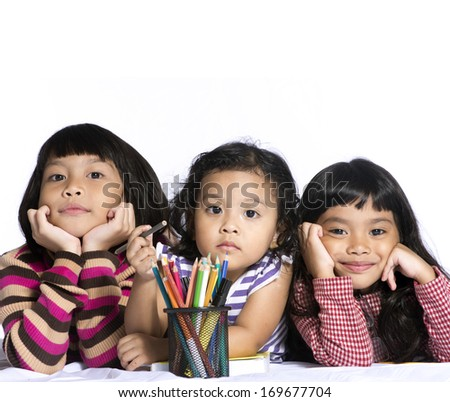Small kids on a white background