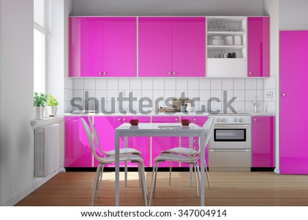 Small kitchen with clean pink kitchenette and table with chairs (3D Rendering) - stock photo