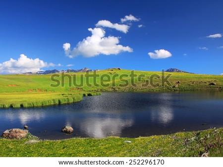 small lake - stock photo