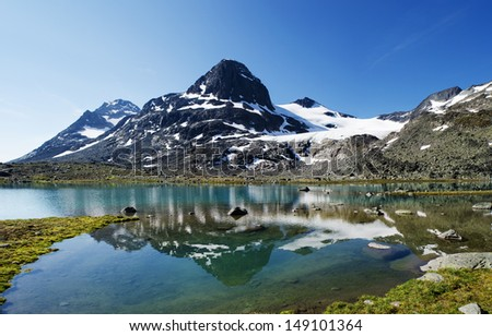 Small lake in Jotunheimen national park in Norway. The mountain is reflected in the water. Photomerge of four shots. - stock photo
