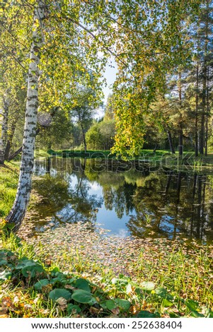 Small lake with reflection of trees and a blue sky on a Sunny autumn day. - stock photo