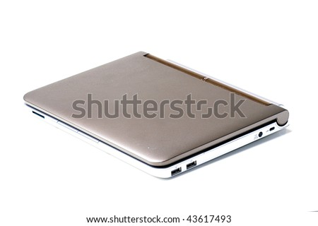 Small laptop notebook computer closed isolated - stock photo