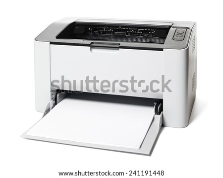 Small laser printer isolated on white background - stock photo