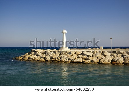 small lighthouse in Aya Napa - stock photo