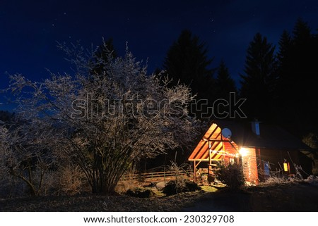 Small lit cabin by the forest in the middle of the night, Slovenia