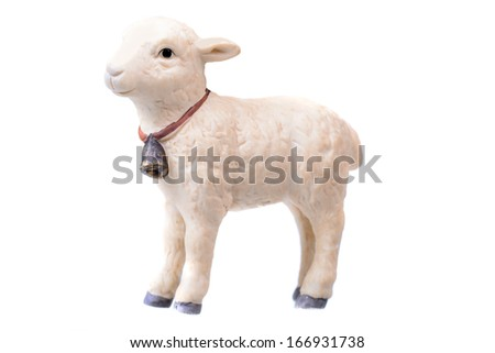 Small little lamb figurine isolated on White - stock photo
