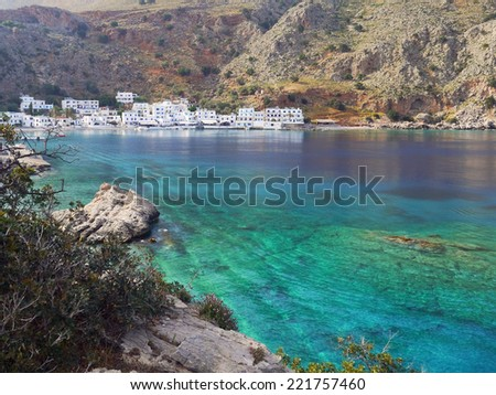 Small Loutro village at the sunset,Crete,Greece - stock photo
