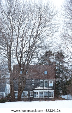 Small Maine house in the winter season during snow storm.