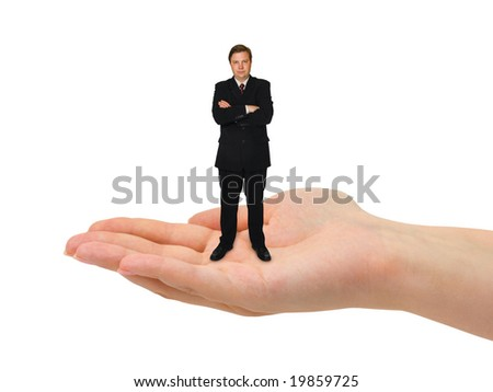 Small man in hand isolated on white background - stock photo