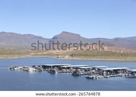 Small marina on Roosevelt Lake in Arizona, USA - stock photo