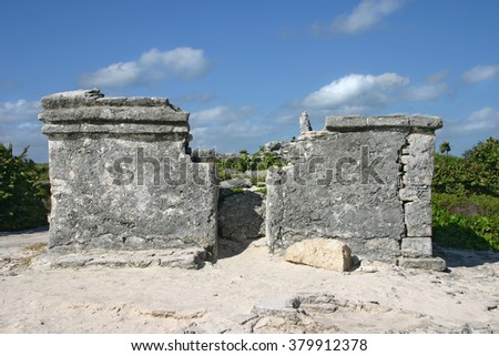 Small Mayan ruins on the beach in Cozumel, Mexico