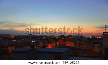 Small Mediterranean village at sunset time. Tranquil travel to Europe. Empty copy space for Editor's text.