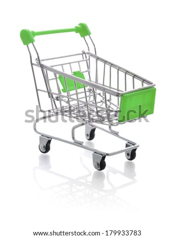Small metal shopping cart isolated on white background