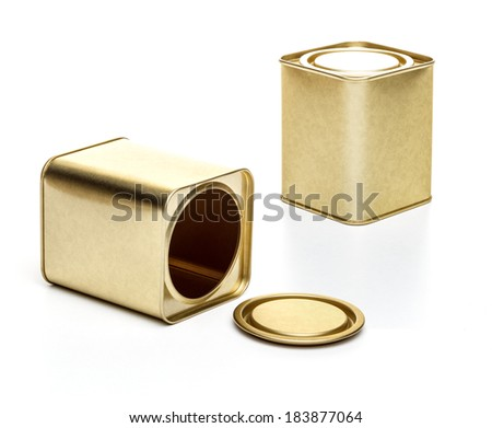 Small metal tea box on a white background - stock photo