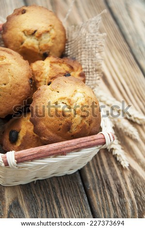 small mini muffins in a basket on a wooden background