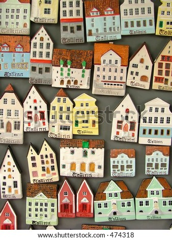 small miniature house icons, for tourists