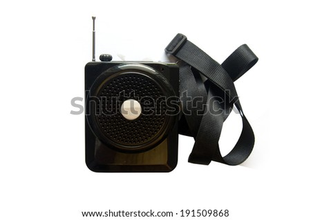 Small mobile radio on white background - stock photo