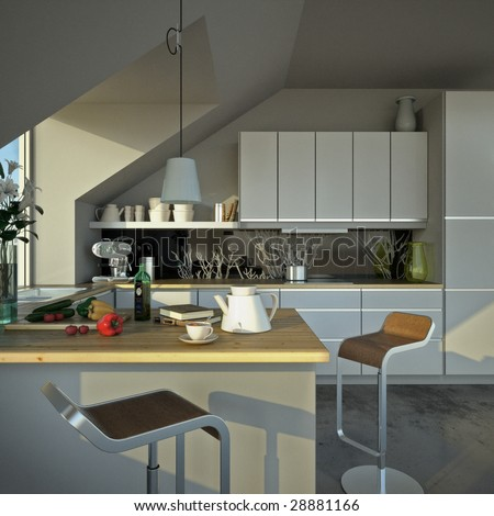 Small modern kitchen under a roof (3D render) - stock photo