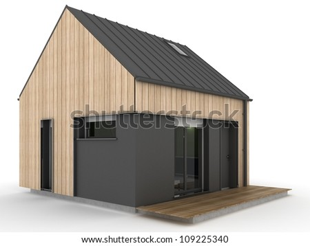 small, modern prefabricated house, exterior view - stock photo