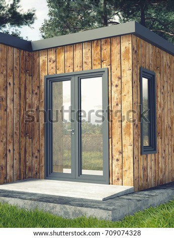 Small Modern Wooden House Exterior With Landscape Background 3D Rendering