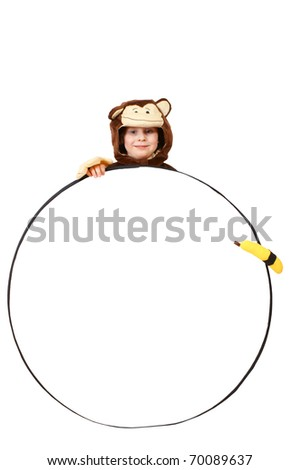 Small monkey with banana and circle for your text or image, isolated on background - stock photo