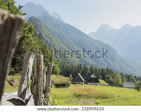 small mountain village, standing in the valley. - stock photo